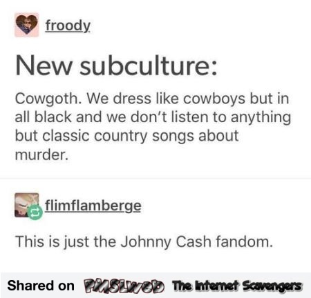 New subculture cowgoth funny comment - Hilarious memes and pics @PMSLweb.com
