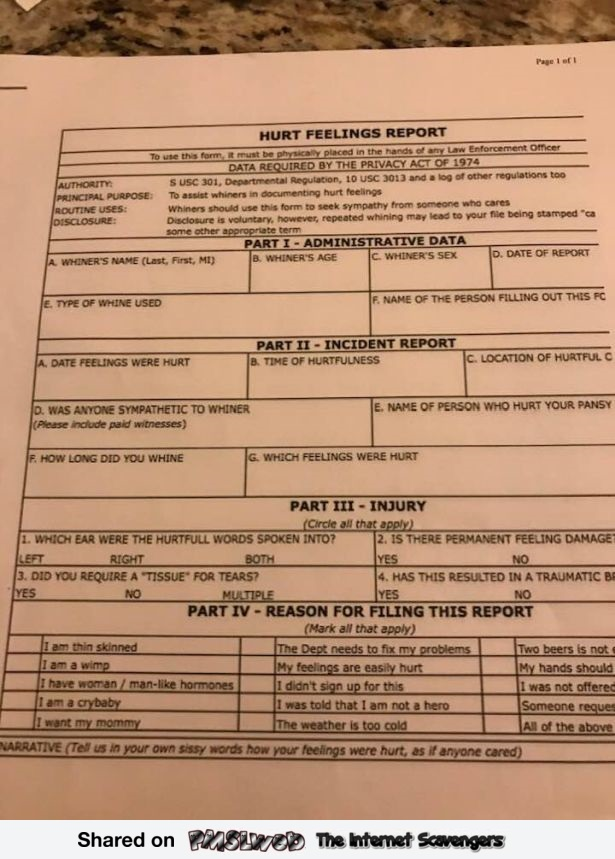 Hurt feelings report sarcastic humor