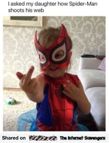 I asked my daughter how Spiderman shoots his web funny meme